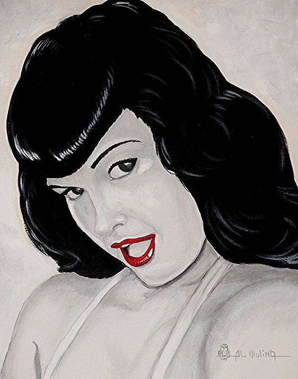 Black And White Poster featuring the painting Bettie by Al Molina