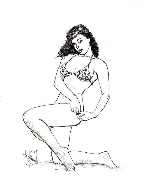 Betty Page Poster featuring the drawing Betty Page Jungle Girl by Will Brown