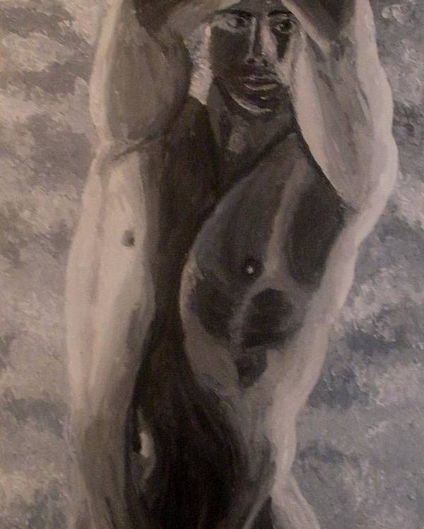 Male Nude Poster featuring the painting Between The Arms by Mats Eriksson