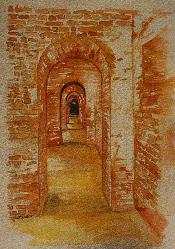 Brick Poster featuring the painting Beyond The Black Door by Julie Lueders