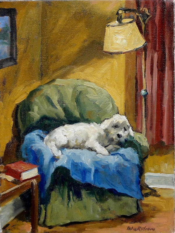 Oil Poster featuring the painting Bichon Frise On Chair by Thor Wickstrom