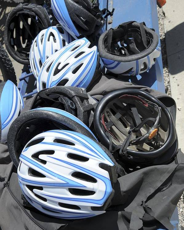 Bicycle Poster featuring the photograph Bicycle Helmets by Photostock-israel