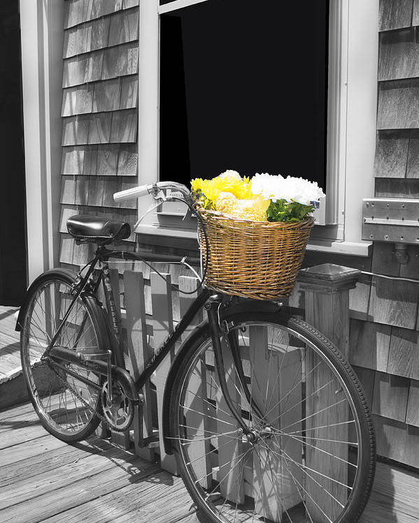 Bicycle Poster featuring the photograph Bicycle With Flower Basket by Carlos Diaz