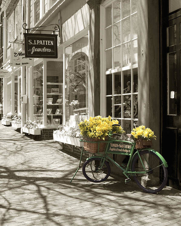 Floral Poster featuring the photograph Bicycle With Flowers - Nantucket by Henry Krauzyk