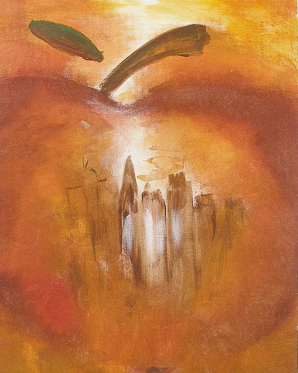Abstract Painting Big Apple New York City Poster featuring the painting Big Apple by Miroslaw Chelchowski