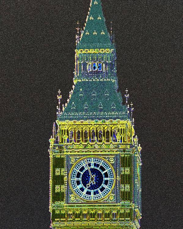 Big Ben Poster featuring the photograph Big Ben Glowing by Charles Ridgway
