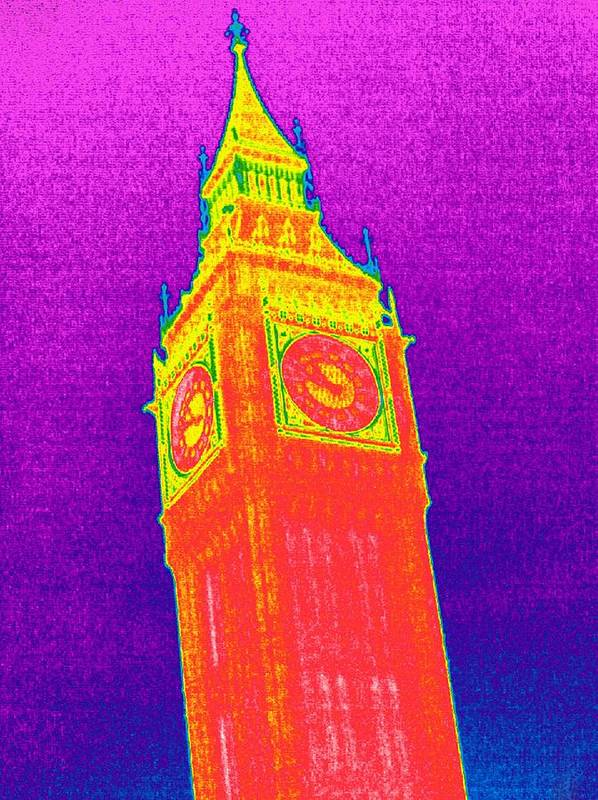 St. Stephen's Tower Poster featuring the photograph Big Ben, Uk, Thermogram by Tony Mcconnell