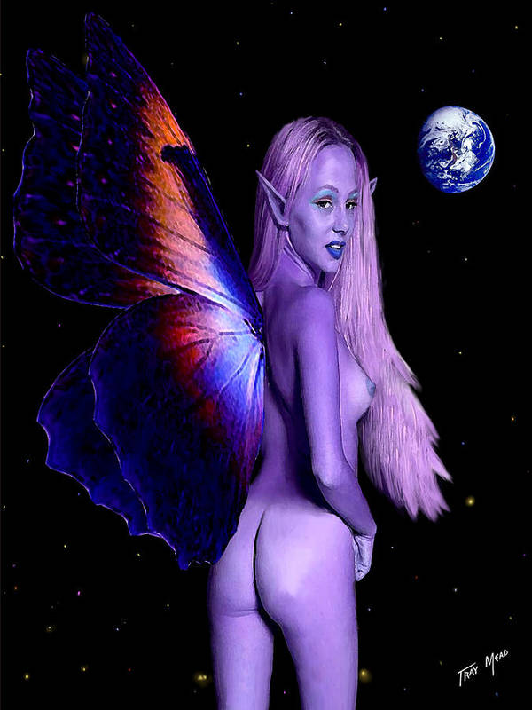 Erotic Poster featuring the painting Big Blue Marble by Tray Mead