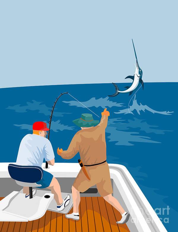 Digital Poster featuring the digital art Big Game Fishing Blue Marlin by Aloysius Patrimonio