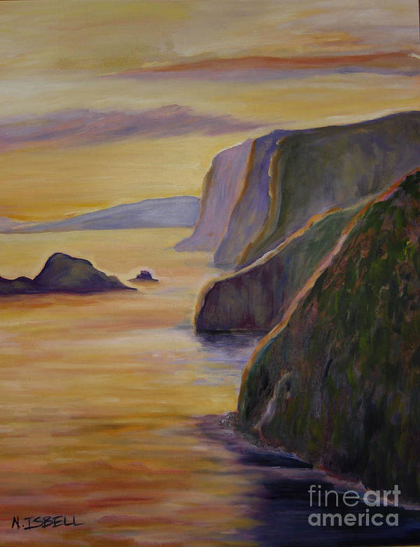 Sunset Poster featuring the painting Big Island by Nancy Isbell