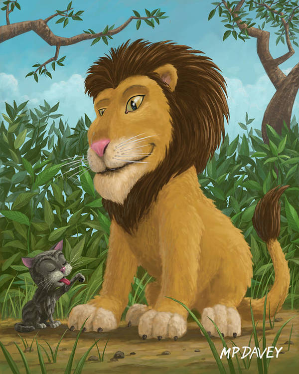 Lion Poster featuring the painting Big Lion Small Cat by Martin Davey