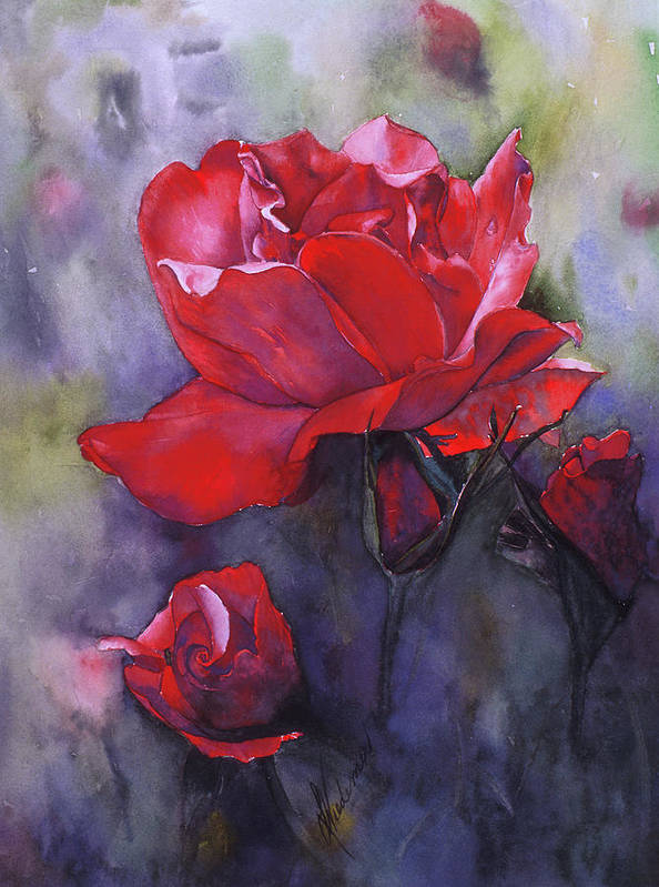 Red Rose Poster featuring the painting Big Red by Leah Wiedemer