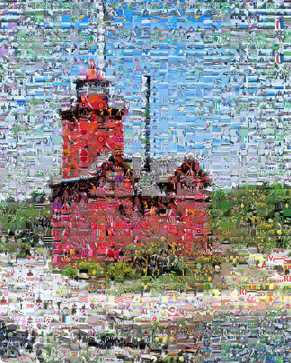 Lighthouse Poster featuring the photograph Big Red Photomosaic by Michelle Calkins