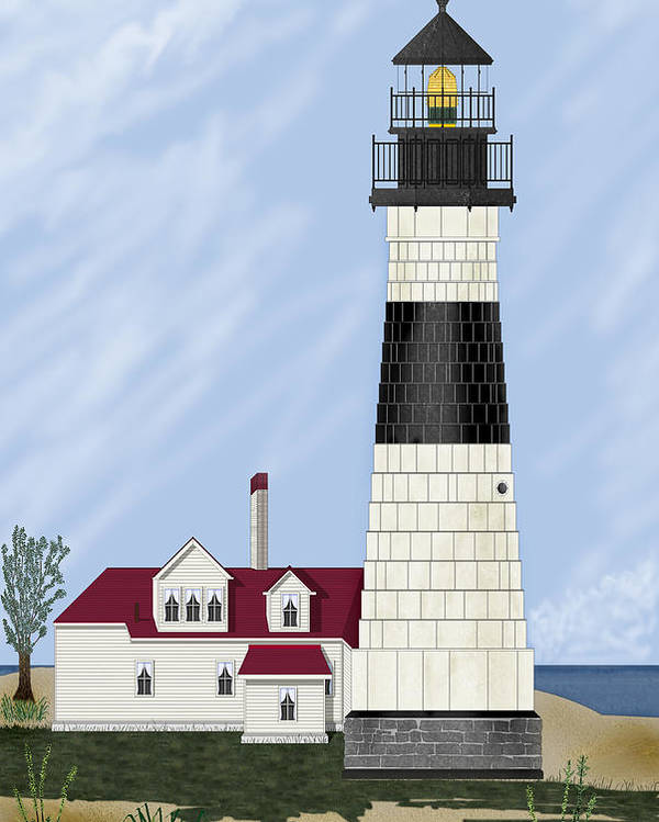 Big Sable Michigan Lighthouse Poster featuring the painting Big Sable Michigan by Anne Norskog