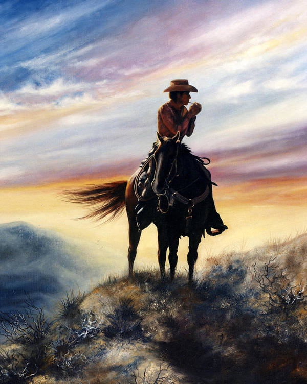 Cowboy Poster featuring the painting Big Sky Country by Glenda Stevens