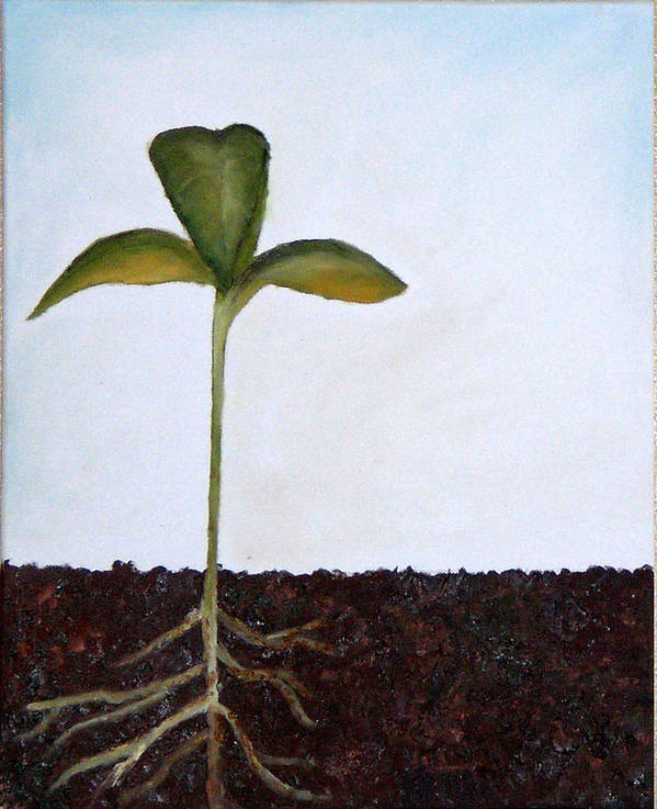 Sprout Poster featuring the painting Big Sprout by Kristen Cothron