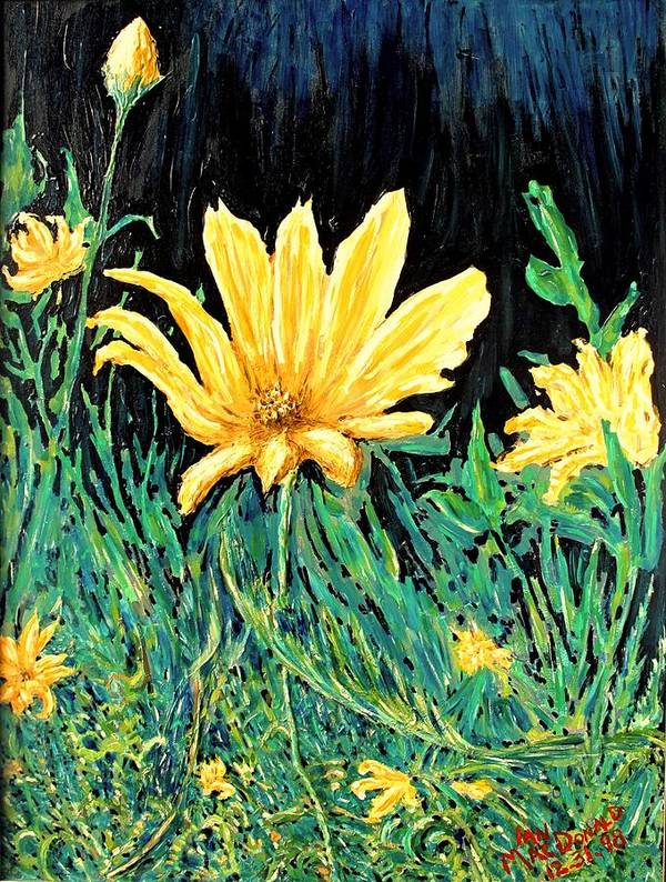 Flower Poster featuring the painting Big Yellow by Ian MacDonald