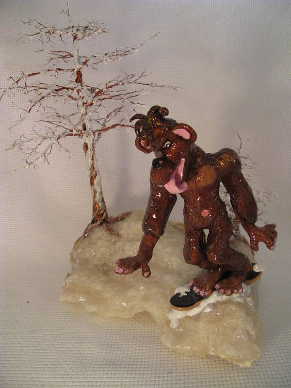 Metal Tree Poster featuring the sculpture Bigfoot On Crystal by Judy Byington