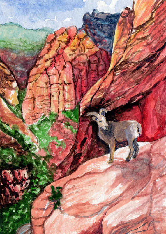 Kelso Poster featuring the painting Bighorn by Bonnie Kelso