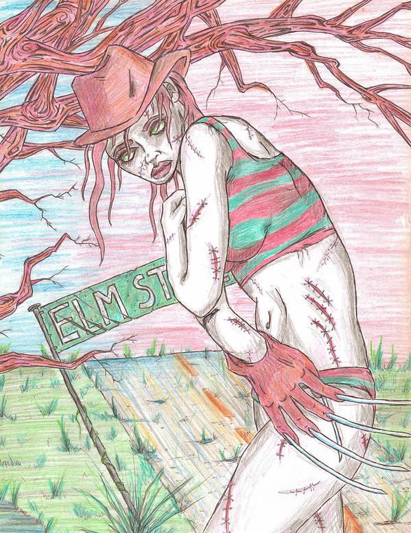 Bikini Poster featuring the drawing Bikini Freddy by Michael Toth