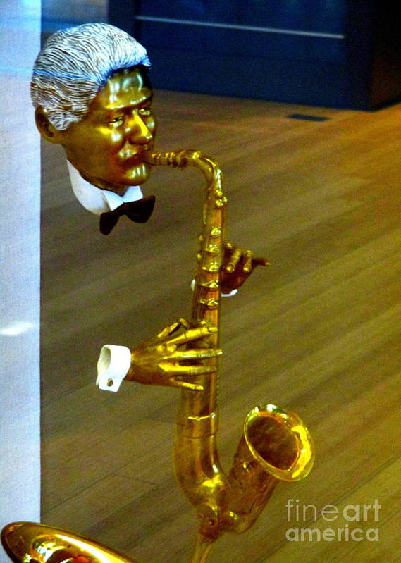 Bill Clinton Saxophone Poster by Randall Weidner