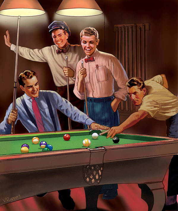 Pool Poster featuring the mixed media Billiards by Lash Larue