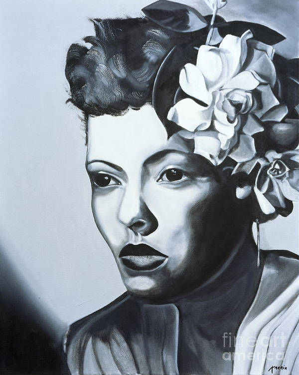 Billie Holiday (1915-59) (oil On Canvas) By Kaaria Mucherera (contemporary Artist) Poster featuring the painting Billie Holiday by Kaaria Mucherera
