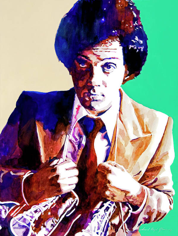Billy Joel Poster featuring the painting Billy Joel - New York State Of Mind by David Lloyd Glover