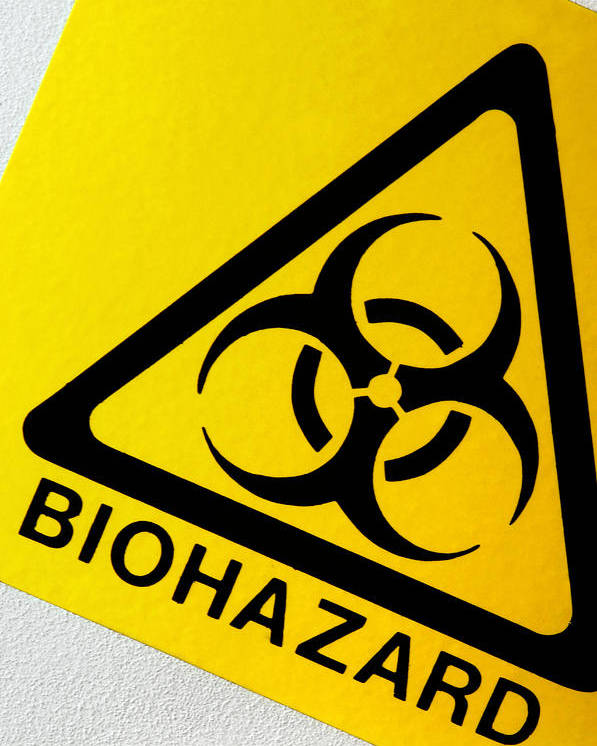 Label Poster featuring the photograph Biohazard Symbol by Tim Vernon, Nhs Trust