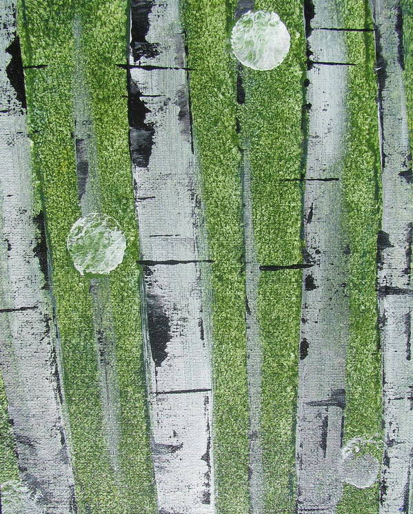 Abstract Poster featuring the painting Birch - Green 1 by Jacqueline Athmann