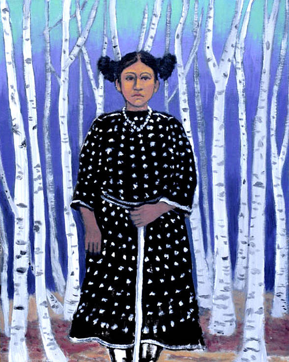 Native American Poster featuring the painting Birch Tree Forest by Susan Stewart