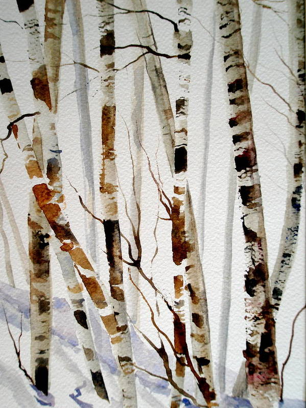 Trees Poster featuring the painting Birch Trees by Lisa Schorr