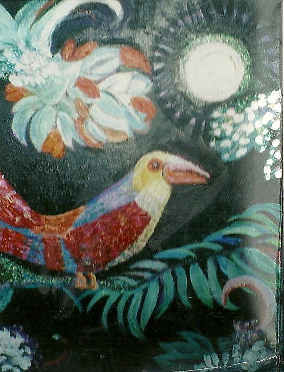 Parrot Poster featuring the mixed media Bird And Moonshine by Anne-Elizabeth Whiteway