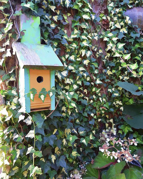 Bird Feeder Poster featuring the photograph Bird Feeder In Ivy by Melissa Hicks