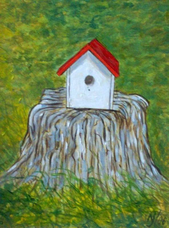 Birdhouse Poster featuring the painting Bird House by Norman F Jackson