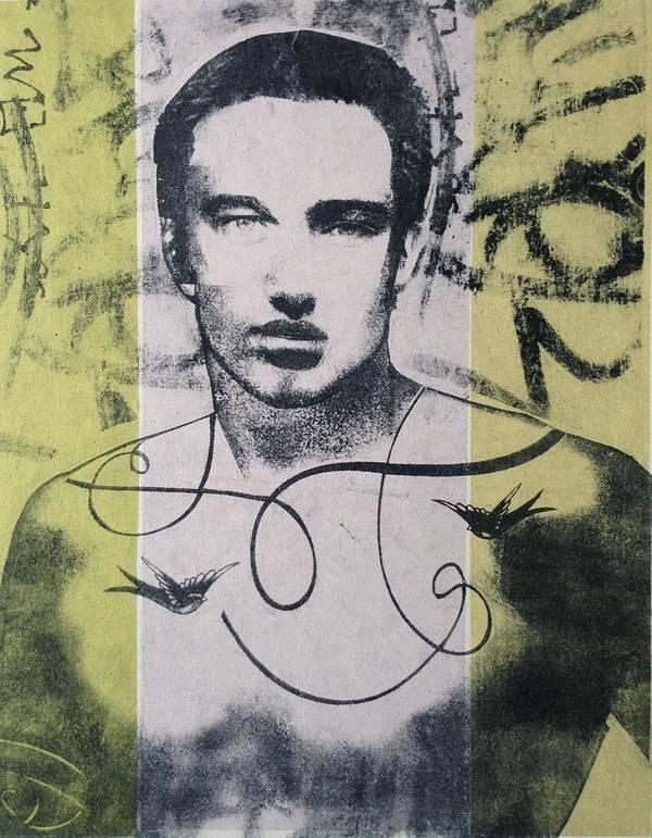 Nude Poster featuring the mixed media Bird Man by Carmine Santaniello
