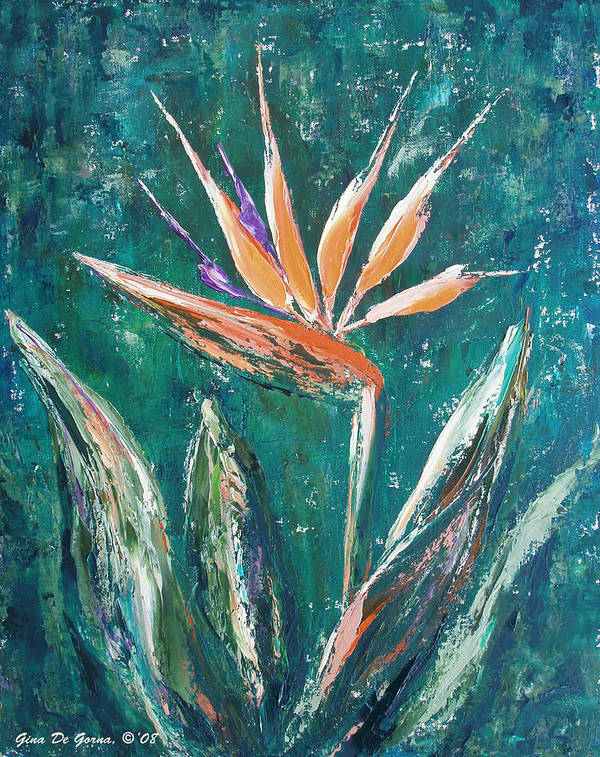 Bird Of Paradise Poster featuring the painting Bird Of Paradise by Gina De Gorna