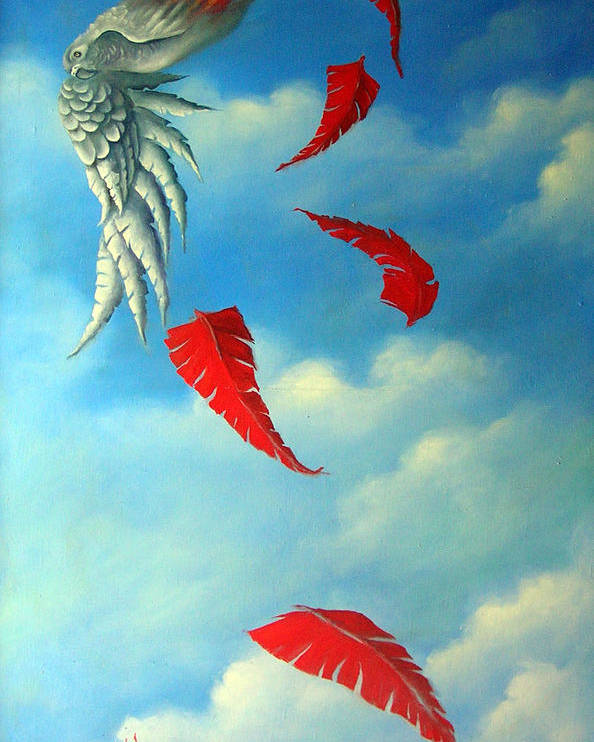 Surreal Poster featuring the painting Bird On Fire by Valerie Vescovi