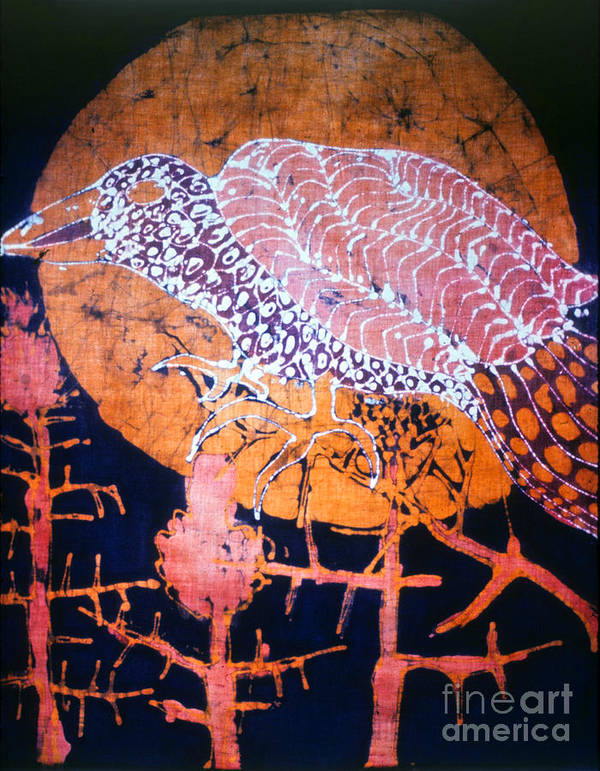 Sunset Poster featuring the tapestry - textile Bird On Thistle At Sundown by Carol Law Conklin