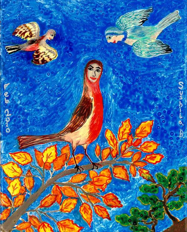 Sue Burgess Poster featuring the painting Bird People Robin by Sushila Burgess