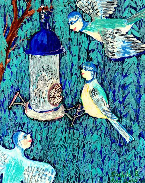 Sue Burgess Poster featuring the painting Bird People The Bluetit Family by Sushila Burgess