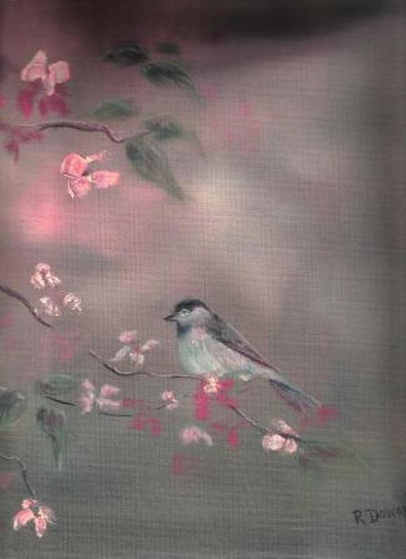 Birds Flowers Nature Wildlife Pets Poster featuring the painting Bird Study by Raymond Doward