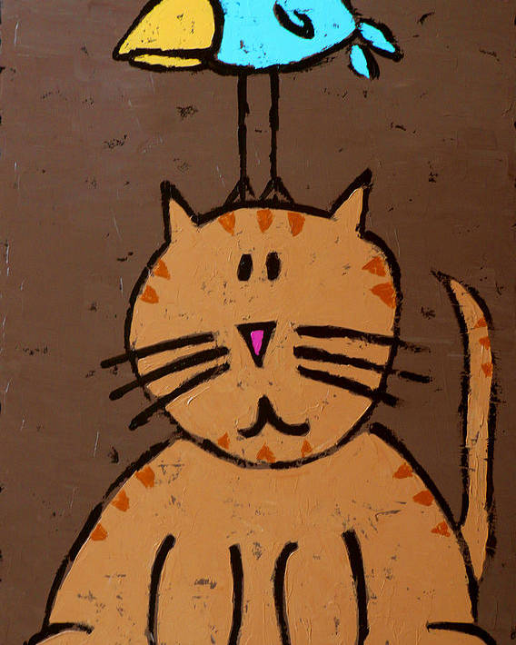 Cat Poster featuring the painting Birdbrain by Ron York