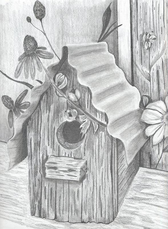 Bird Poster featuring the drawing Birdhouse And Flowers by DebiJeen Pencils