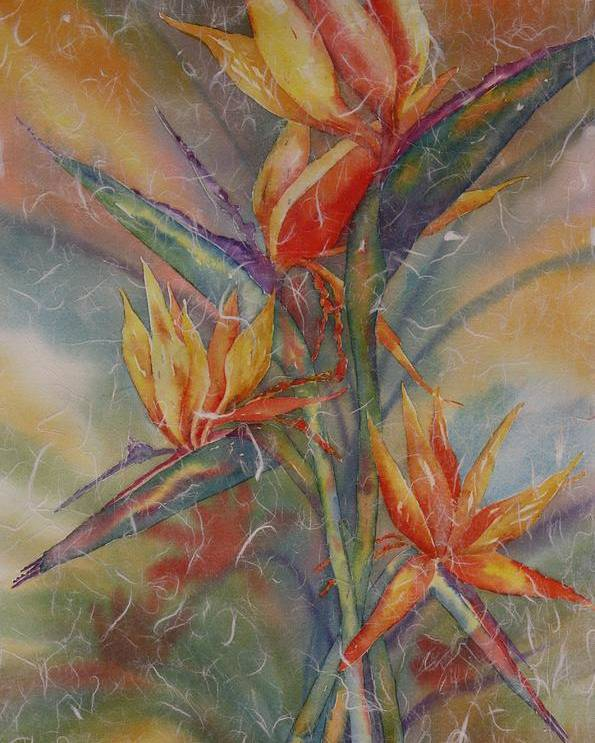 Bird Of Paradise Poster featuring the painting Birdies by Tara Moorman