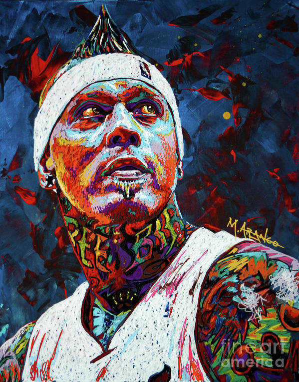 Chris Andersen Poster featuring the painting Birdman Andersen by Maria Arango