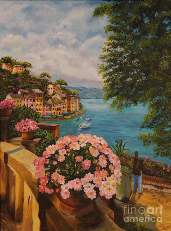 Portofino Italy Art Poster featuring the painting Bird's Eye View Of Portofino by Charlotte Blanchard