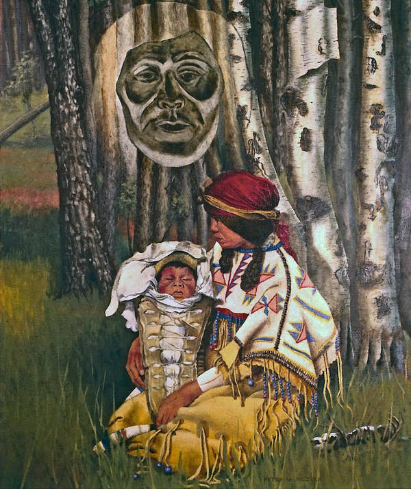 Native American Poster featuring the painting Birth Spirit by Peter Muzyka