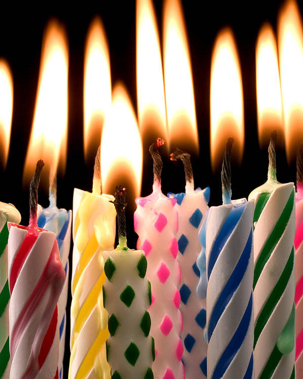 Flame Poster featuring the photograph Birthday Candles by Garry Gay
