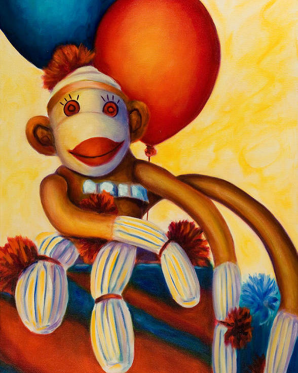 Sock Monkey Brown Poster featuring the painting Birthday Made Of Sockies by Shannon Grissom